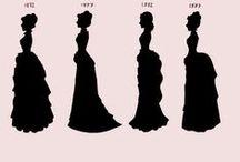FASHION: Bustle dresses/ Tournures (Victorian 1870s-80s) / pêle-mêle de différents styles de tournures des années 1870 et 1880 / random 1870ies and 1880ies several bustle styles