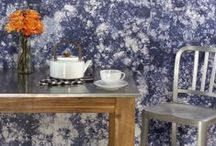 Wallcoverings in the Kitchen / Dining area and kitchen design inspiration from Maya Romanoff