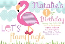 Pink Flamingo Birthday Party / flamingo party invites, pink flamingo party, flamingos, party box design invitations, flamingo stickers, pink flamingo birthday party