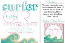 Surfer Party/Luau Birthday Party / surfer girl party invites, surfer boy, surf party, surfs up, surf party invitations, girl party invites, beach party invites, boy party invites, party decor, party box design, surfer girl, Luau party invites, Luau, Girl Luau