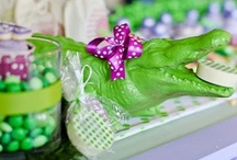 Polka Dot Croc Birthday Party / Polka Dot Croc Birthday Party, Girl Party Ideas, Party Box Design, Crocodile Party, Preppy Gator Party, Party Invitations, Childrens Party Invitations, crocs, gators, custom party decor