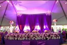 "Racing Theme (purple with black and white checks) - neu events / We enjoyed the challenge of planning a racing themed wedding that combined elegance and refinement with style and ""race-iness.""  To achieve this, we incorporated the black and white racing checks with the bride's favorite color:  royal purple."