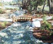 Fullerton, CA Dry Creek Bed Garden / This garden in #Fullerton, (#OrangeCounty) California includes a mixture of mostly CA native plants along with a decomposed granite path and an elegant dry creek bed that has a bridge that leads to the secret garden.