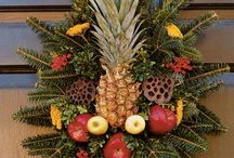 Pineapple - King of Hospitality /  Pineapple fruit has inspired  coats of arms and was used as an architectural element in pottery and planters. The artistic appeal and decorative effect that the pineapple fruit rendered were significant and the pineapple symbol inspired bed posts, tablecloths,  as well as bookends and candle holders. Pineapple themed accessories and gifts are instrumental in highlighting the peace loving and hospitable people who reside within. / by Ruth Ann Hess