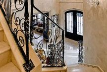 Cool Houses / Ornate home dream wrought iron staircases / by Sarah Vest Donley