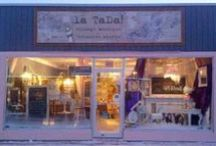 la TaDa! vintage boutique & creative studio / pictures of the always changing la TaDa! displays, inside, out & windows