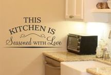 Kitchen Wall Quotes, Lettering, Vinyl Decals and Stencils / A beautiful selection of our most popular vinyl wall quotes, lettering, decals and stencils for your Kitchen and dining areas that are easy to install, look painted on and are removable! Free samples available at www.TheSimpleStencil.com