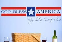 Patriotic Themed Wall Art / A collection of our favorite Patriotic quotes and Wall Art designs to help you celebrate Independence Day, Political rallies, Military homecomings, and more... www.TheSimpleStencil.com