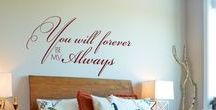 Romantic Wall Art | Love Inspired Wall Quotes, Decals & Stencils / A collection of some of our favorite love quotes and romantic wall art designs. All of these wall quotes about love and romantically inspired wall art designs are a beautiful and easy way to decorate a master bedroom. They can also be used to surprise a loved one on a special anniversary, Valentine's day or anytime you want to make your partner feel loved and special. They make great decorations or gifts for weddings too! Please visit www.TheSimpleStencil.com for our full catalog.