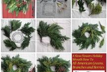 "December Holiday Decor: Wreaths, Centerpieces, Garlands / Here's what ""local"" and ""seasonal"" is all about in the Pacific Northwest. All ingredients traveled between 0-200 miles to get to me! From my own backyard to a friendly flower farmer one state away~"