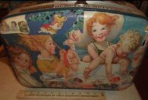 vintage  suitcases & other cases / vintage suitcases , decoupage , vintage books .  vintage wrappingpaper.  vintage sheet music , vintage magazines