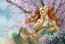 Ostara ~ Spring Equinox / As Spring reaches its midpoint, night and day stand in perfect balance, with light on the increase. The young Sun God now celebrates a hierogamy (sacred marriage) with the young Maiden Goddess, who conceives. In nine months, she will again become the Great Mother. It is a time of great fertility, new growth, and newborn animals.