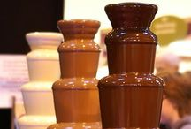 Chocolate Fountain Set-Up Ideas / I searched Pinterest to find well executed ways to display chocolate fountains & dipping items. These pictures can be your inspiration.  When you use Chocoley Belgian-style chocolate in your fountain, you won't need to add oil.  Everyone loves our Just Melt It! Fountain & Fondue Chocolate available in semi-sweet dark, milk & white. Available at http://www.chocoley.com/list/fountain-fondue-chocolate