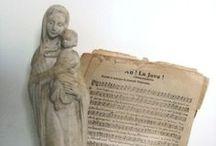 RELIGIOUS art / religious art, antique religious icons, virgin Mary statue, crucifix, Catholic symbolism
