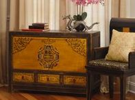 Tibetan Furniture and Art / Highlighted by vibrant colors and elaborate patterns, Tibetan furniture often features one of a kind hand painted artwork, reflecting the liveliness of Tibetan people and culture.