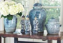 Chinese Blue & White Porcelain / A collection of classic Chinese Ming Dynasty and Chinoiserie inspired designs, mostly featuring blue and white porcelain jars and vases