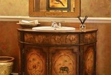 Chinese Style Vanity Cabinets / Asian contemporary style bathroom and powder room vanities.