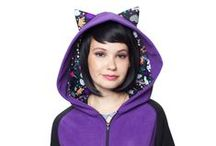 Kawaii Purple Cat Hoodie / Our handmade Kawaii Collection Purple Cat ear hoodie is one of our most popular styles! This unique design will keep you cozy and cute and not to mention, looking super rad with our Neon Galaxy Unicorn print detailing!