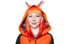Kawaii Orange Fox Hoodie / Our handmade Kawaii Collection Orange Fox Ear hoodie is one of our most stand-out styles! This unique design will keep you cozy and cute and not to mention, looking super rad with our Neon Bolt print detailing!