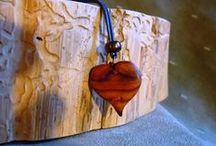 Wood Jewels / Hand carved wood jewelry from The WoodArt Studio. The WoodArt Studio at https://squareup.com/market/the-woodart-studio or www.woodartstudio.blogspot.com / by Steve & Debbie Fischer