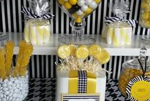 Black & Yellow Candy Buffet by Signature Sweets / Signature Sweets is a subsidiary of Signature Designs Interiors Events & Custom Decor.  Find more of our fabulous candy and fine dessert buffet designs on our website, www.signaturesweetshouston.com.