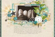 Color Chat Scrap Inspiration / Scrapbook Pages for inspiration working with a color palette of mustard yellow, teal blue and brown all from designerdigitals.com