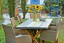 Provence Dining / Create a perfect summer of relaxed, outdoor living. Teak trestle table and comfy chairs bring a rustic elegance to your backyard dining spot. At dusk, sparkling string lights and the warm glow of candles let you linger. / by Gardener's Supply Company