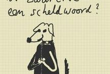 Ron & Rock / handwritten and drawn sketches and cartoons about a man and his labrador dog (text in Dutch and Labradorian)