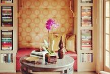 Library spaces / A cozy space to curl up with a real book.  I love real books and the color and texture they add you your space as well as your imagination.