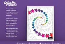 """Coloring Pages by Color Me Forum / Color Me Forum makes unique and upbeat coloring pages for adults! Each page is lovingly hand made and prints to professional standard on 8.5"""" x 11"""" paper. Try one today!"""