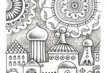 Coloring pages, Detailed & Big Kids / Emphasis on highly detailed images or very unique designs or content, mostly for adults/older kids. / by Amy Sue
