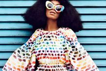 """Style Icon: Solange Knowles / Fashion's """"risk- taker"""" whether it's mixing prints or a monochrome hot pant suit, her style is always eclectic and cool.  / by Amanda Tiran"""