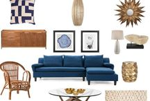 Dot & Bo Dream Board / **I'm a finalist, please like my collage at https://www.pinterest.com/pin/532198880943222143/ **  My board features a living room that exudes a California bohemian beach vibe. Textural pieces include a rattan chair paired with the Nicosia pillow and cocoon pendant. Unique art work could be leaned casually against the wall above the console table. The console table could also be flanked with a pair of Cliff table lamps and accessorized with a potted cactus, books, and gold nesting bowls.