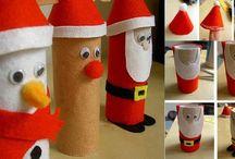 Toiletrullejulepynt / Julepynt af toiletruller, inspiration til juleklippedag 2 dec. 2014