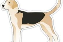 Foxhound Gifts by Breed Collection / American Foxhound and English Foxhound illustrations created by TriPodDog Design for the Breed Collection. Colorful, fresh dog breed silhouettes.