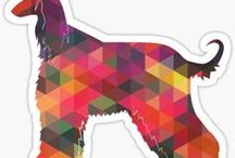 Afghan Hound Gifts by Breed Collection / Afghan Hound illustrations created by TriPodDog Design for the Breed Collection. Colorful, fresh dog breed silhouettes.
