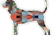 Black and Tan Coonhound Gifts by Breed Collection / Black and Tan Coonhound illustrations created by TriPodDog Design for the Breed Collection. Colorful, fresh dog breed silhouettes.