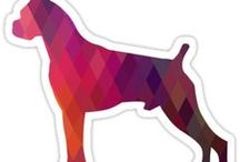 Boxer Gifts by Breed Collection / Boxer illustrations created by TriPodDog Design for the Breed Collection. Colorful, fresh dog breed silhouettes.