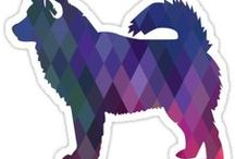 Alaskan Malamute Gifts by Breed Collection / Alaskan Malamute illustrations created by TriPodDog Design for the Breed Collection. Colorful, fresh dog breed silhouettes.