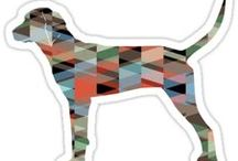 Redbone Coonhound Gifts by Breed Collection / Redbone Coonhound illustrations created by TriPodDog Design for the Breed Collection. Colorful, fresh dog breed silhouettes.