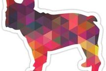 French Bulldog Gifts by Breed Collection / French Bulldog illustrations created by TriPodDog Design for the Breed Collection. Colorful, fresh dog breed silhouettes.