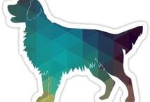 Flat-Coated Retriever Gifts by Breed Collection / Flat-Coated Retriever illustrations created by TriPodDog Design for the Breed Collection. Colorful, fresh dog breed silhouettes.