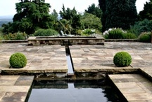 Water garden with reflective pool & rill   / By Hampshire garden designer Janet Bligh.  A simple bold design with moving water and soft planting creates an intimate garden space within a large estate in Haslemere, Surrey.See entire article here: http://www.shootgardening.co.uk/article/water-garden-with-reflective-pool-rill. Here are photos of the garden and plants used. / by Shoot Gardening