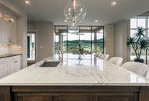 Mix and Match / Beautiful homes in Austin, TX that used both natural stone as well as Aventine Quartz for the countertops. Have fun and play with your counters!