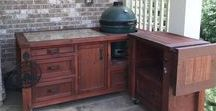Big Green Egg Grill Tables & Cabinets / Grill Tables, dual grill cabinets & mobile outdoor kitchens for Kamado Joe, Big Green Egg, Primo, Vision, Akorn & more.  We customize for all of your grills.