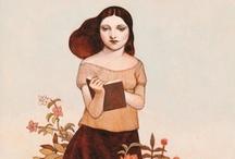 La lectrice / The Reader / J'adore les livres depuis ma plus tendre enfance / I love books since my childhood / by Louise Sanfaçon