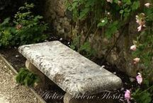 Garden seating / Sitting arrangements or just one seat in the midst of a garden is just so lovely!!