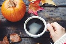 falling leaves / golden leaves and warm mochas