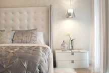 Metallic & White Bedrooms / Soft and flirty metallics soft furnishings, offset by walnut and white furniture...
