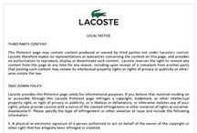Legal Notice / For more information about Lacoste's Legal Notice please visit: http://tiny.cc/cbhcew